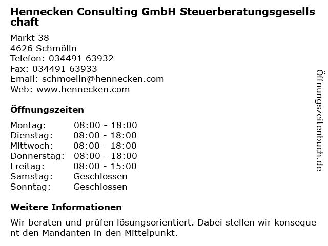 Hennecken Consulting GmbH Steuerberatungsgesellschaft in Schmölln: Adresse und Öffnungszeiten