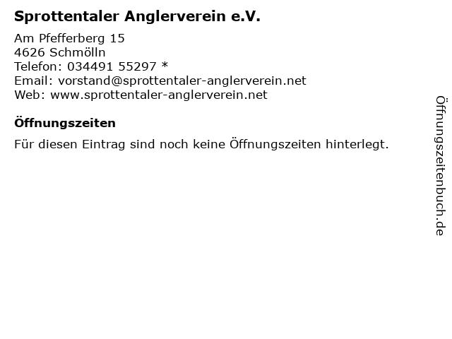Sprottentaler Anglerverein e.V. in Schmölln: Adresse und Öffnungszeiten