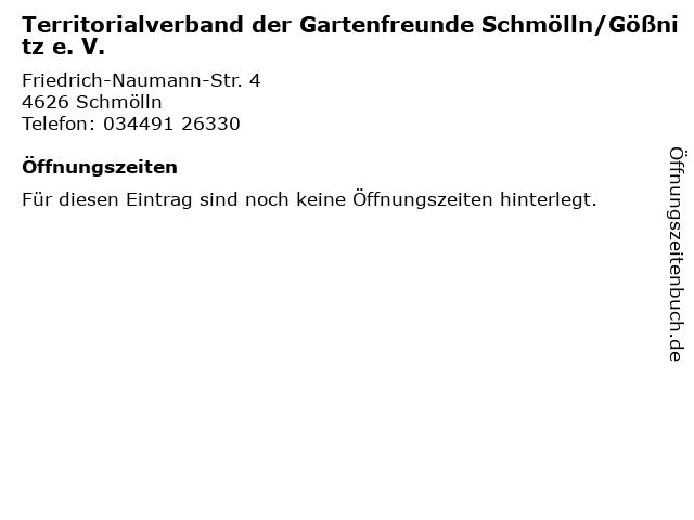 Territorialverband der Gartenfreunde Schmölln/Gößnitz e. V. in Schmölln: Adresse und Öffnungszeiten
