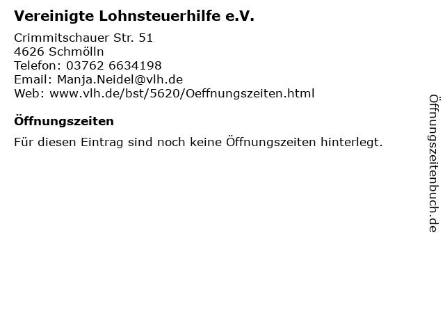 Vereinigte Lohnsteuerhilfe e.V. in Schmölln: Adresse und Öffnungszeiten