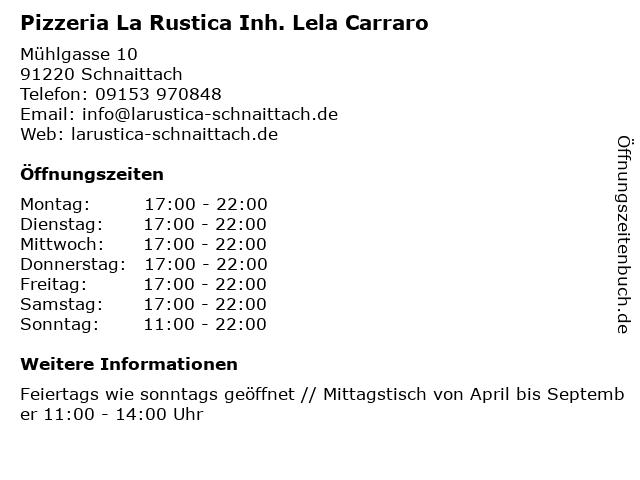 Pizzeria La Rustica Inh. Lela Carraro in Schnaittach: Adresse und Öffnungszeiten