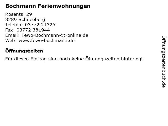 Bochmann Ferienwohnungen in Schneeberg: Adresse und Öffnungszeiten