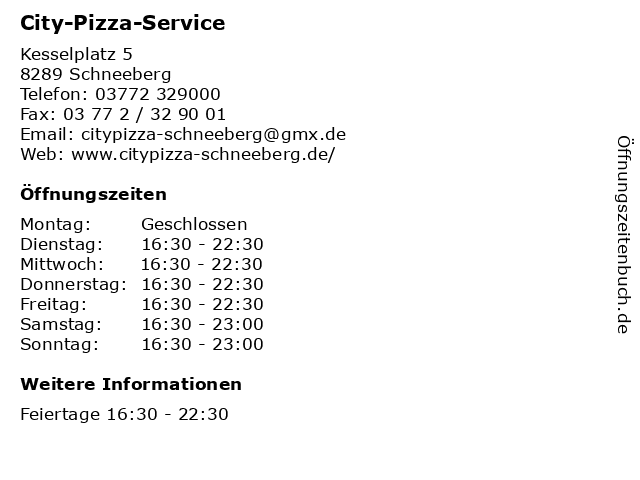 City-Pizza-Service in Schneeberg: Adresse und Öffnungszeiten