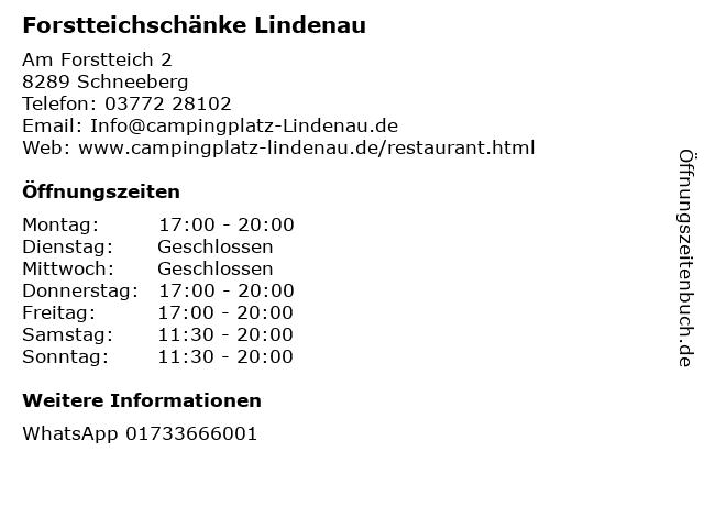 Forstteichschänke Lindenau in Schneeberg: Adresse und Öffnungszeiten