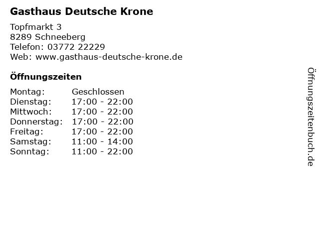Gasthaus Deutsche Krone in Schneeberg: Adresse und Öffnungszeiten