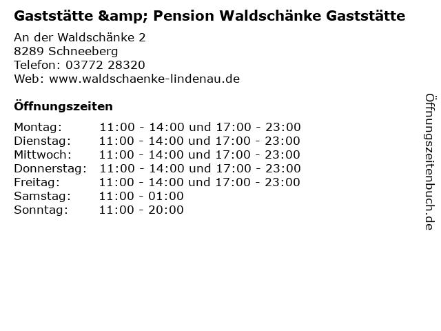 Gaststätte & Pension Waldschänke Gaststätte in Schneeberg: Adresse und Öffnungszeiten