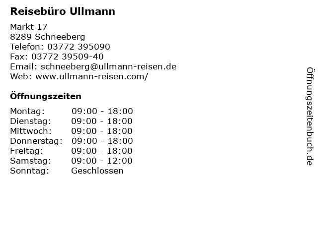 Reisebüro Ullmann in Schneeberg: Adresse und Öffnungszeiten