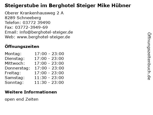 Steigerstube im Berghotel Steiger Mike Hübner in Schneeberg: Adresse und Öffnungszeiten