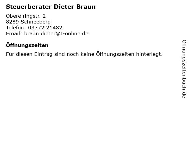 Steuerberater Dieter Braun in Schneeberg: Adresse und Öffnungszeiten
