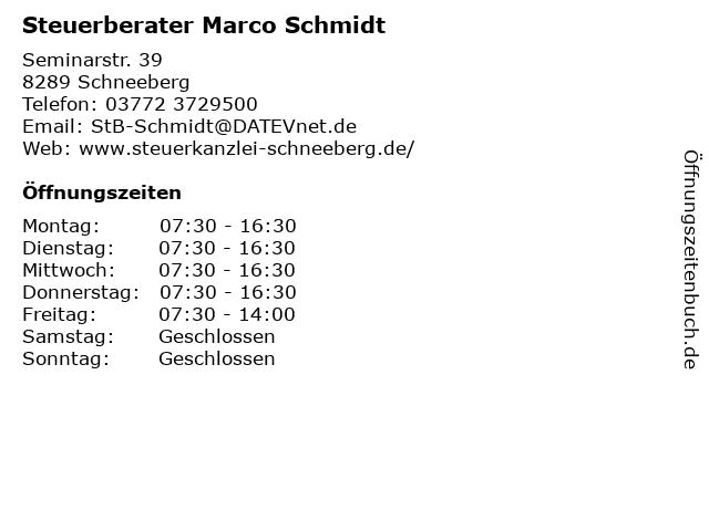 Steuerberater Marco Schmidt in Schneeberg: Adresse und Öffnungszeiten