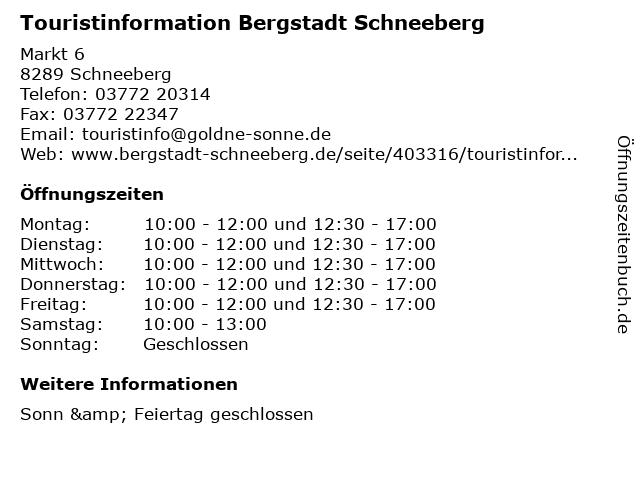 Touristinformation Bergstadt Schneeberg in Schneeberg: Adresse und Öffnungszeiten
