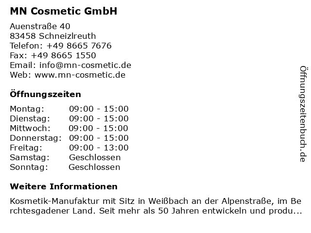 MN Cosmetic GmbH in Schneizlreuth: Adresse und Öffnungszeiten