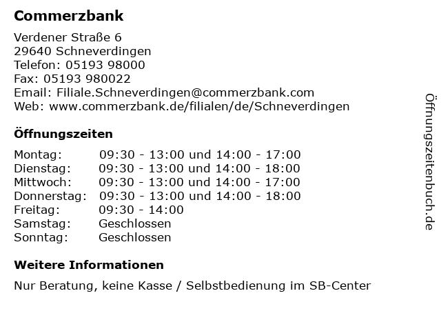 ᐅ öffnungszeiten Commerzbank Schneverdingen Verdener Straße 6