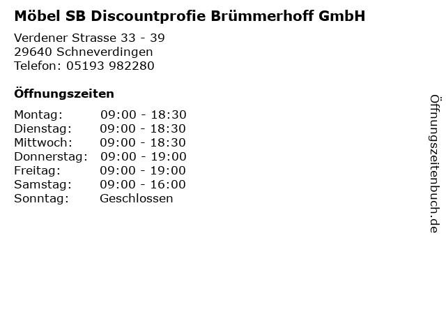 ᐅ öffnungszeiten Möbel Sb Discountprofie Brümmerhoff Gmbh