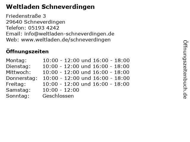 Weltladen Schneverdingen in Schneverdingen: Adresse und Öffnungszeiten
