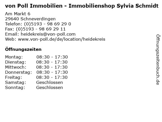 von Poll Immobilien - Immobilienshop Sylvia Schmidt in Schneverdingen: Adresse und Öffnungszeiten