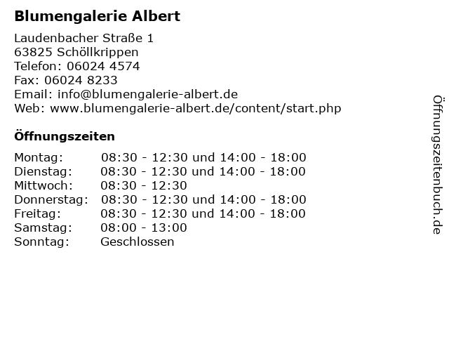 Blumengalerie Albert in Schöllkrippen: Adresse und Öffnungszeiten