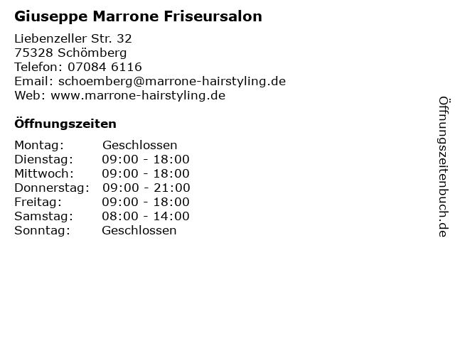 Giuseppe Marrone Friseursalon in Schömberg: Adresse und Öffnungszeiten