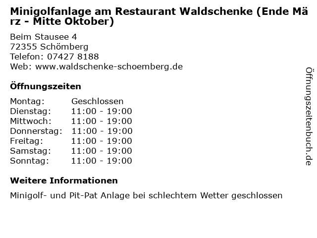 Minigolfanlage am Restaurant Waldschenke (Ende März - Mitte Oktober) in Schömberg: Adresse und Öffnungszeiten