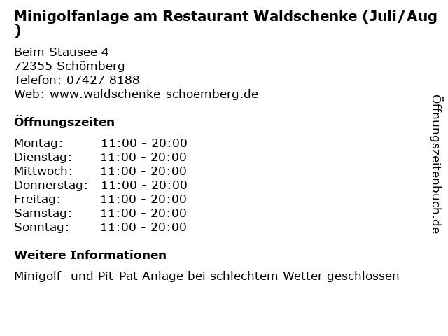 Minigolfanlage am Restaurant Waldschenke (Juli/Aug) in Schömberg: Adresse und Öffnungszeiten