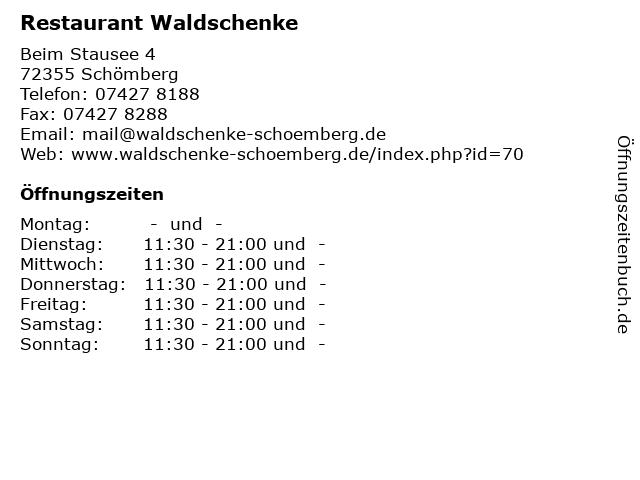 Restaurant Waldschenke in Schömberg: Adresse und Öffnungszeiten
