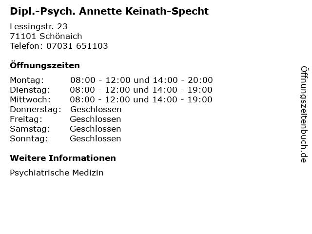 Dipl.-Psych. Annette Keinath-Specht in Schönaich: Adresse und Öffnungszeiten