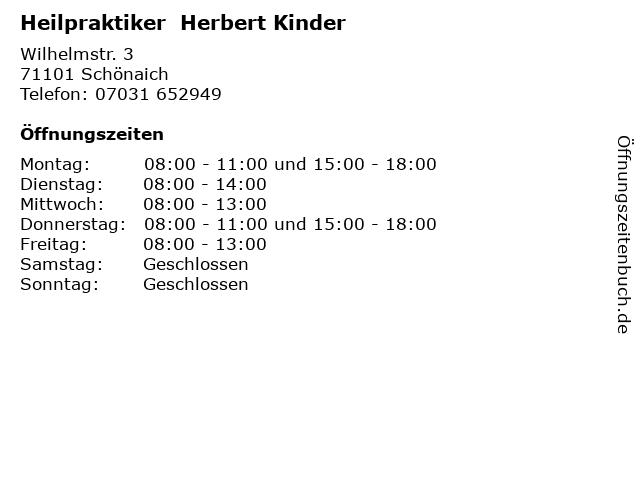 Heilpraktiker  Herbert Kinder in Schönaich: Adresse und Öffnungszeiten