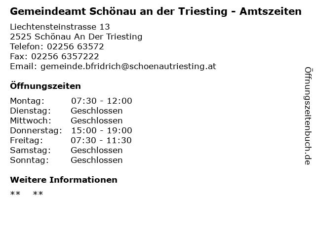 Gemeindeamt Schönau an der Triesting - Amtszeiten in Schönau An Der Triesting: Adresse und Öffnungszeiten