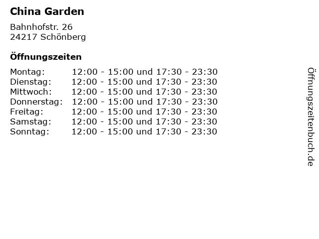China Garden in Schönberg: Adresse und Öffnungszeiten