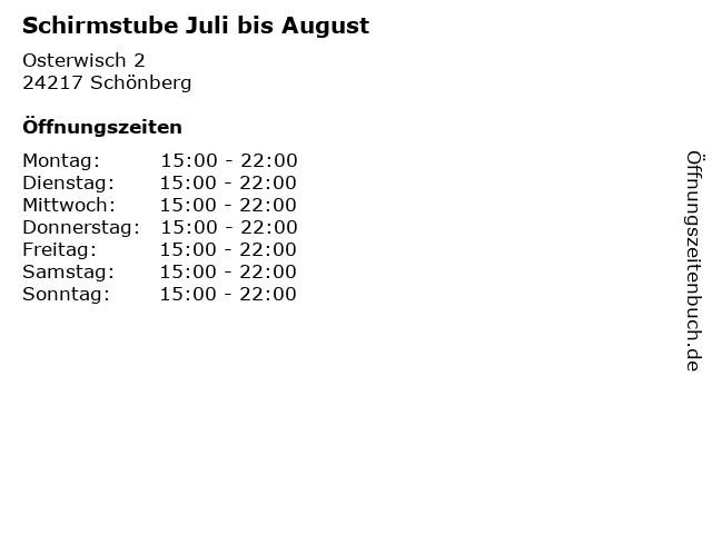 Schirmstube Juli bis August in Schönberg: Adresse und Öffnungszeiten