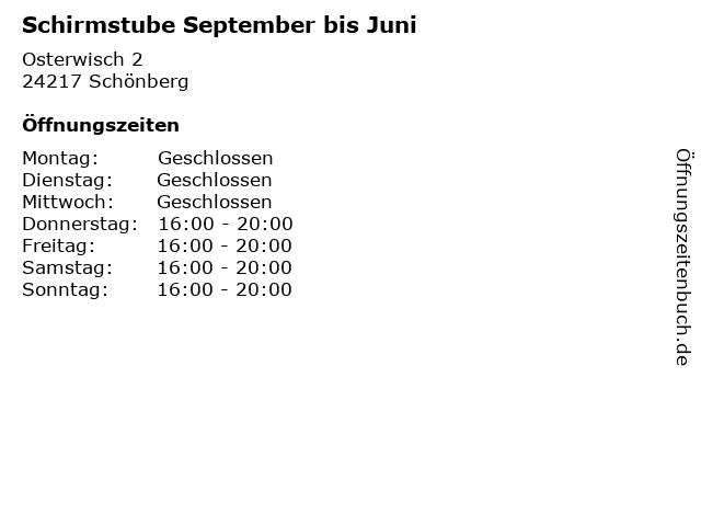 Schirmstube September bis Juni in Schönberg: Adresse und Öffnungszeiten