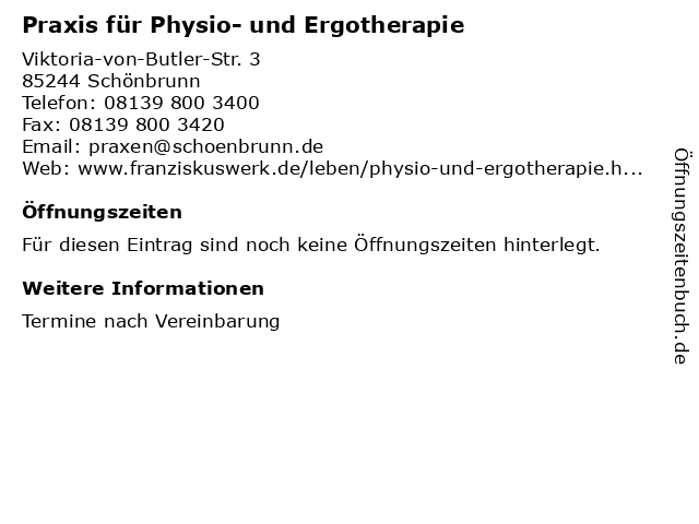 Praxis für Physio- und Ergotherapie in Schönbrunn: Adresse und Öffnungszeiten