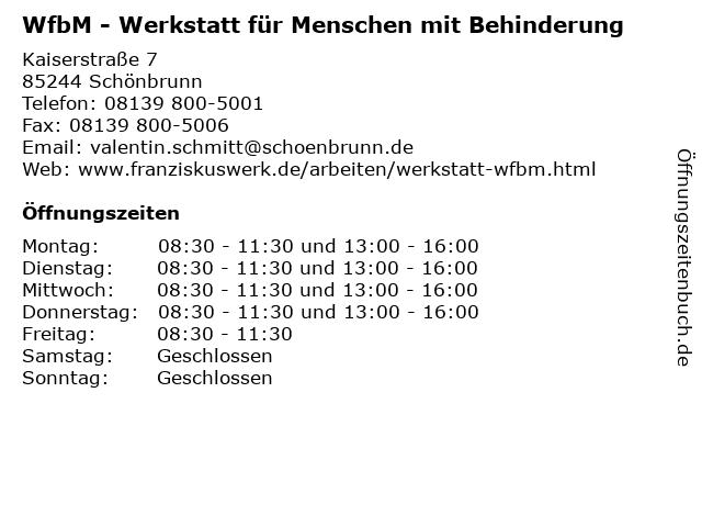 WfbM - Werkstatt für Menschen mit Behinderung in Schönbrunn: Adresse und Öffnungszeiten