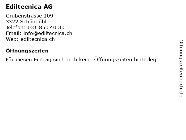 Ediltecnica AG in Schönbühl: Adresse und Öffnungszeiten