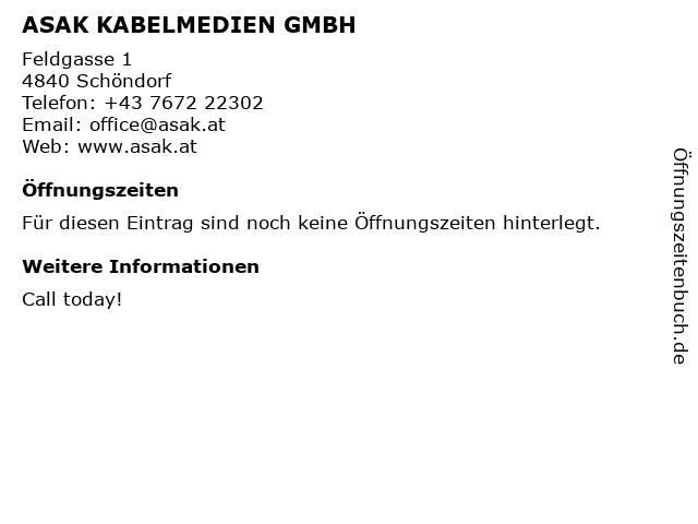 ASAK KABELMEDIEN GMBH in Schöndorf: Adresse und Öffnungszeiten