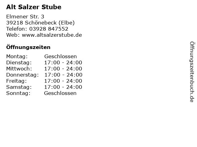 Alt Salzer Stube in Schönebeck (Elbe): Adresse und Öffnungszeiten