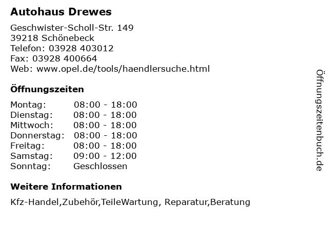Autohaus Drewes in Schönebeck: Adresse und Öffnungszeiten