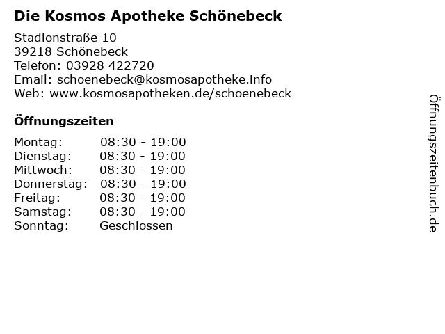 Die Kosmos Apotheke Schönebeck in Schönebeck: Adresse und Öffnungszeiten
