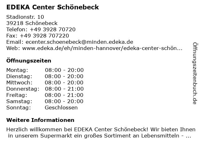 EDEKA Center Schönebeck in Schönebeck: Adresse und Öffnungszeiten