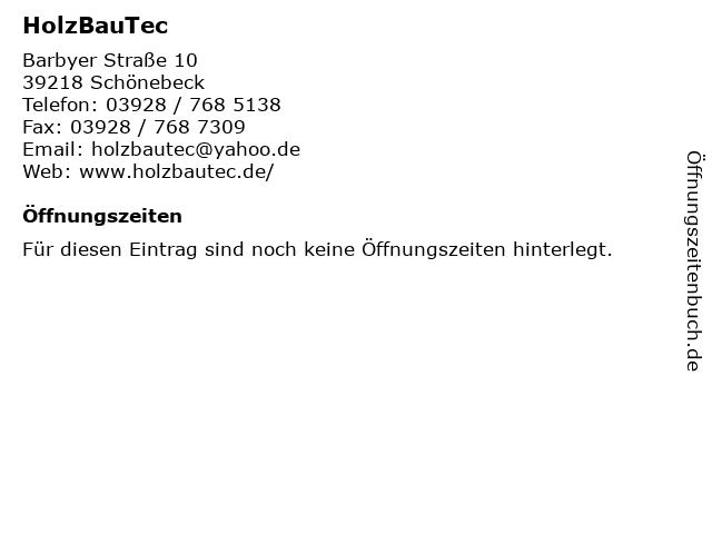 HolzBauTec in Schönebeck: Adresse und Öffnungszeiten