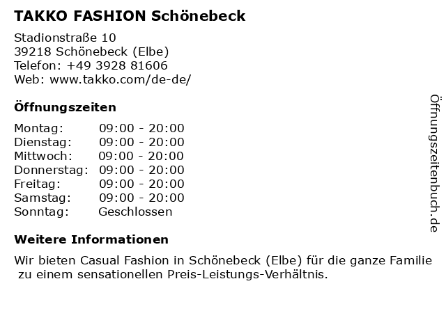 Takko Fashion in Schönebeck: Adresse und Öffnungszeiten
