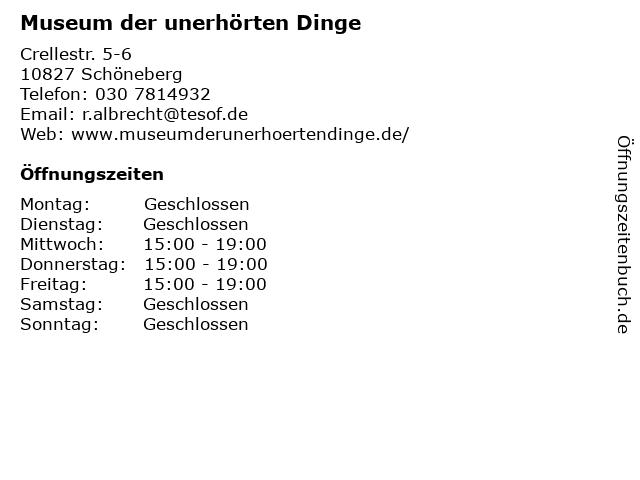 Museum der unerhörten Dinge in Schöneberg: Adresse und Öffnungszeiten