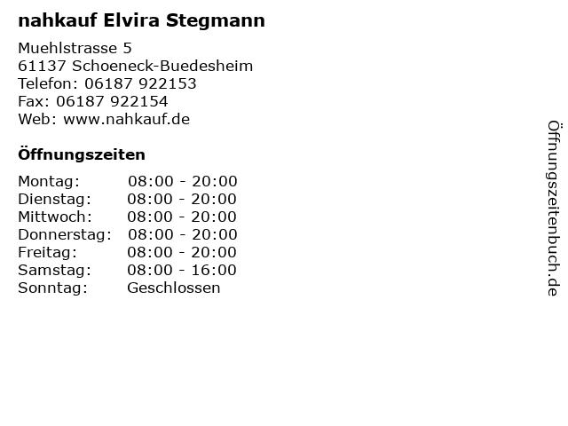 nahkauf Elvira Stegmann in Schoeneck-Buedesheim: Adresse und Öffnungszeiten