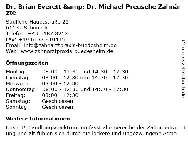 Dr. Brian Everett & Dr. Michael Preusche Zahnärzte in Schöneck: Adresse und Öffnungszeiten