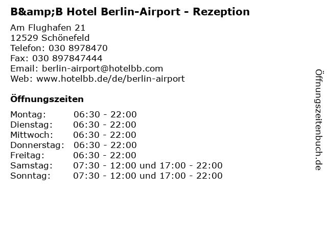 ᐅ Offnungszeiten B B Hotel Berlin Airport Rezeption Am