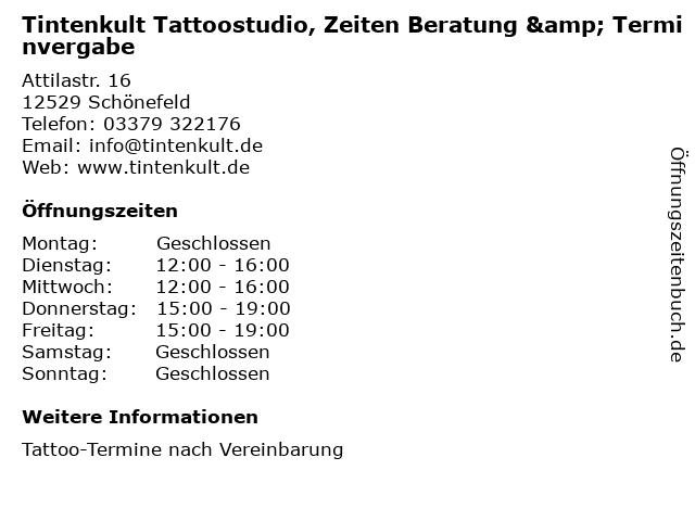 Tintenkult Tattoostudio, Zeiten Beratung & Terminvergabe in Schönefeld: Adresse und Öffnungszeiten
