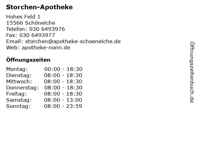 Storchen Apotheke in Schöneiche bei Berlin: Adresse und Öffnungszeiten