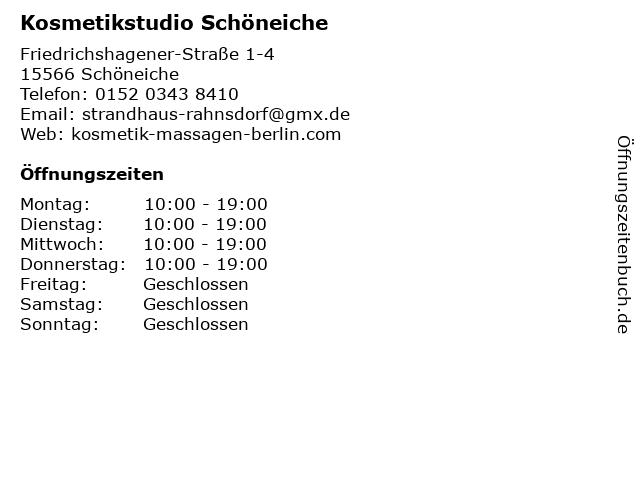 Kosmetikstudio Schöneiche in Schöneiche: Adresse und Öffnungszeiten