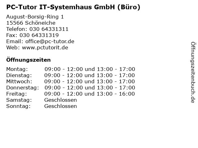 PC-Tutor IT-Systemhaus GmbH (Büro) in Schöneiche: Adresse und Öffnungszeiten