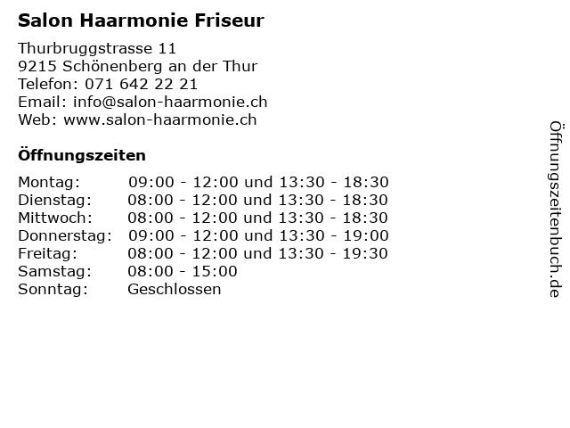Salon Haarmonie Friseur in Schönenberg an der Thur: Adresse und Öffnungszeiten